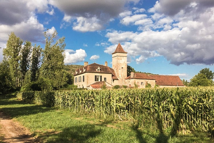Vakantiewoning  met wifi  Cénevières  Sfeervol 17-eeuws belle Demeure met binnenplaats en tuin aan de rivier de Lot.
