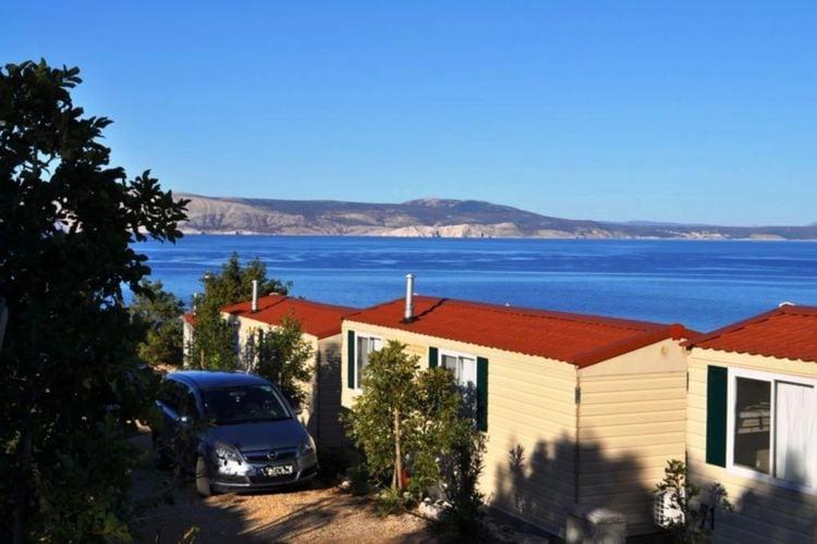 Kroatie Chalets te huur Mobile home met mooi uitzicht, gelegen op vakantiepark direct aan zee