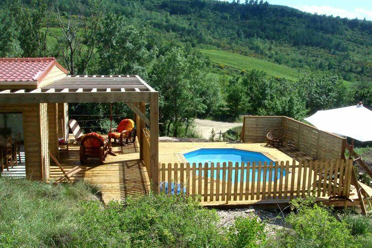 Chalet met zwembad met wifi  Roquetaillade  Moderne lodge met privézwembad op heuvel van wijndomein in Zuid-Frankrijk