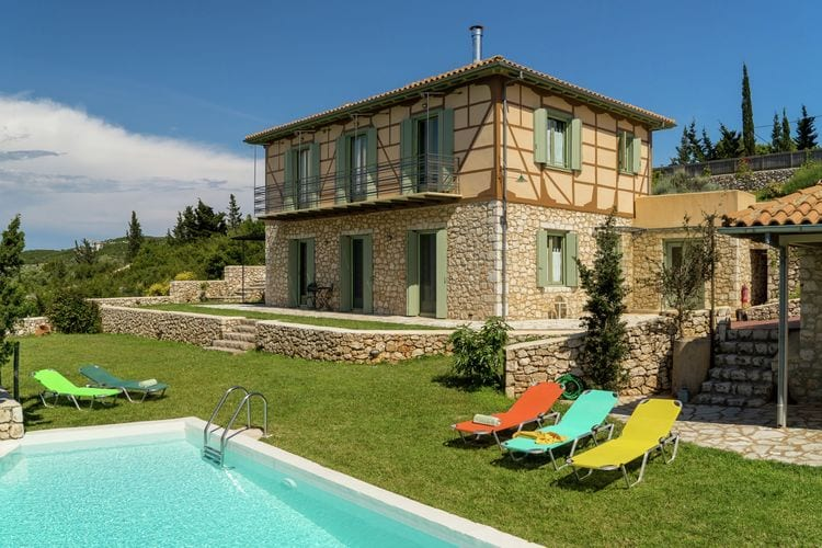 Lefkas Villas te huur Charmant, warm vakantie huis, prive zwembad, veel privacy, zeezicht, west Lefkas