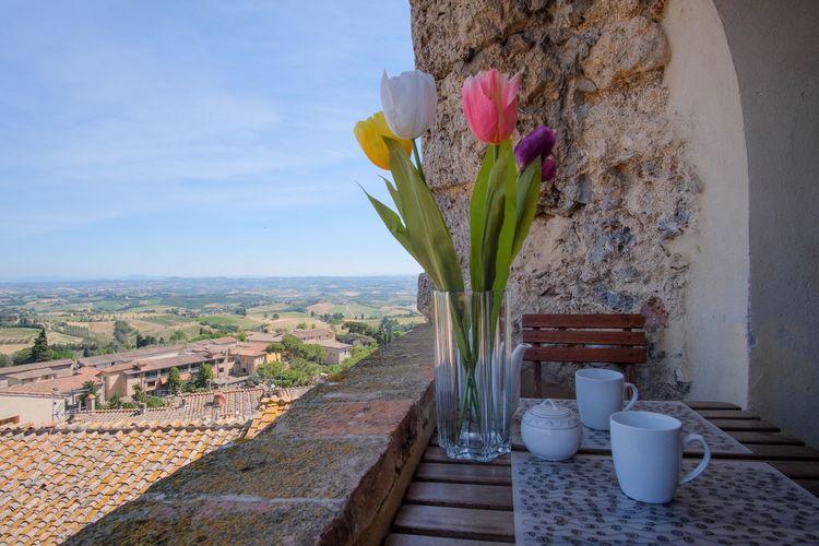San-Gimignano Vakantiewoningen te huur Comfortabel appartement in een typerende toren in het centrum van San Gimignano.