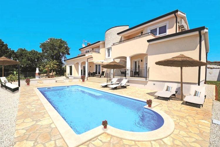 Istrie Vakantiewoningen te huur Villa in de heuvels met prachtig uitzicht op zee, privé zwembad en paviljoen