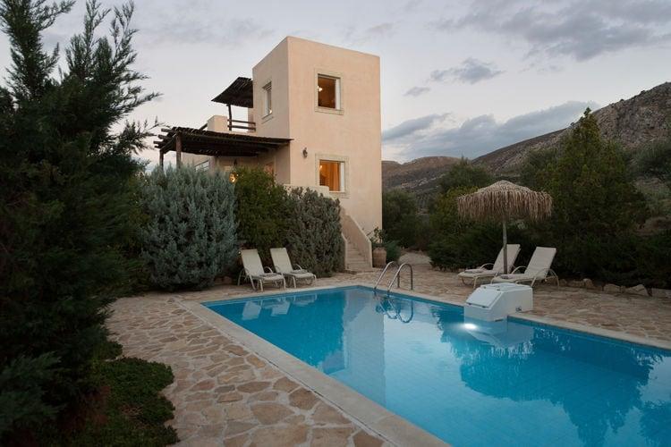 kreta Vakantiewoningen te huur Villa met privé zwembad en mooi zeezicht op Lybische zee, Zuid-west kust Kreta