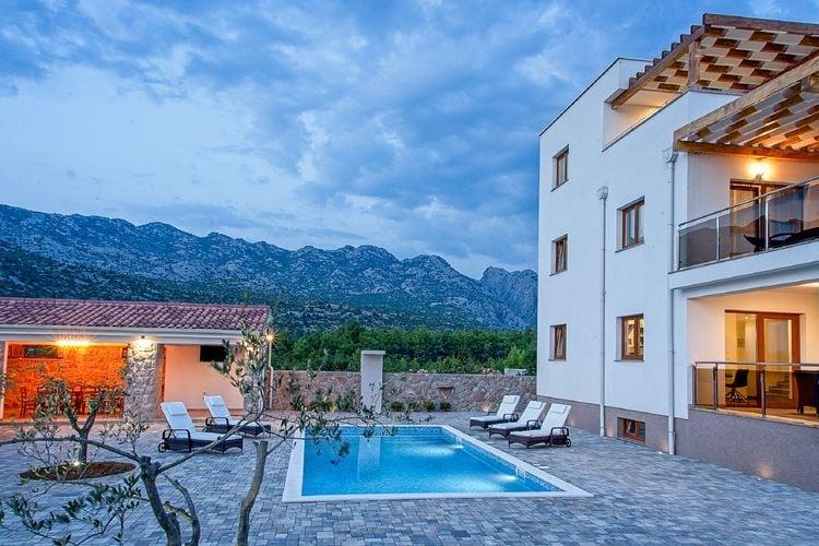 Vakantiehuizen Kroatie | Dalmatie | Villa te huur in Seline met zwembad  met wifi 10 personen