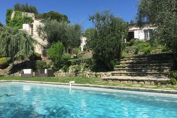 Mougins Vakantiewoningen te huur Mediterraanse villa met privé zwembad en prachtig uitzicht, op 8 km van Cannes